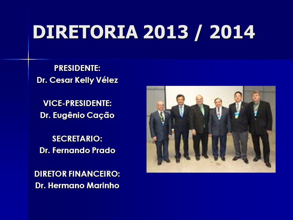 DIRETORIA 2013 / 2014 PRESIDENTE: Dr.Cesar Kelly Vélez VICE-PRESIDENTE: Dr.