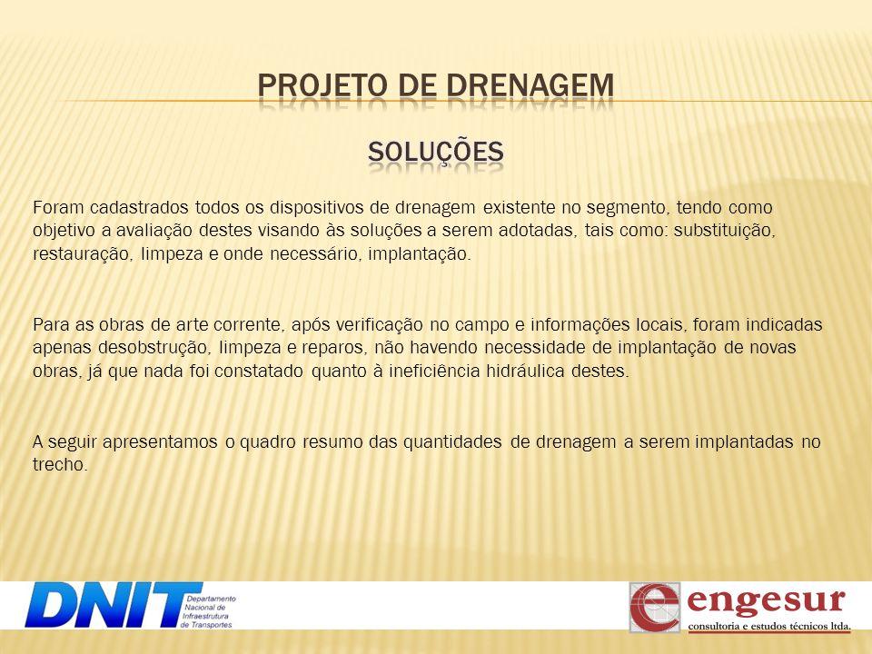 Foram cadastrados todos os dispositivos de drenagem existente no segmento, tendo como objetivo a avaliação destes visando às soluções a serem adotadas