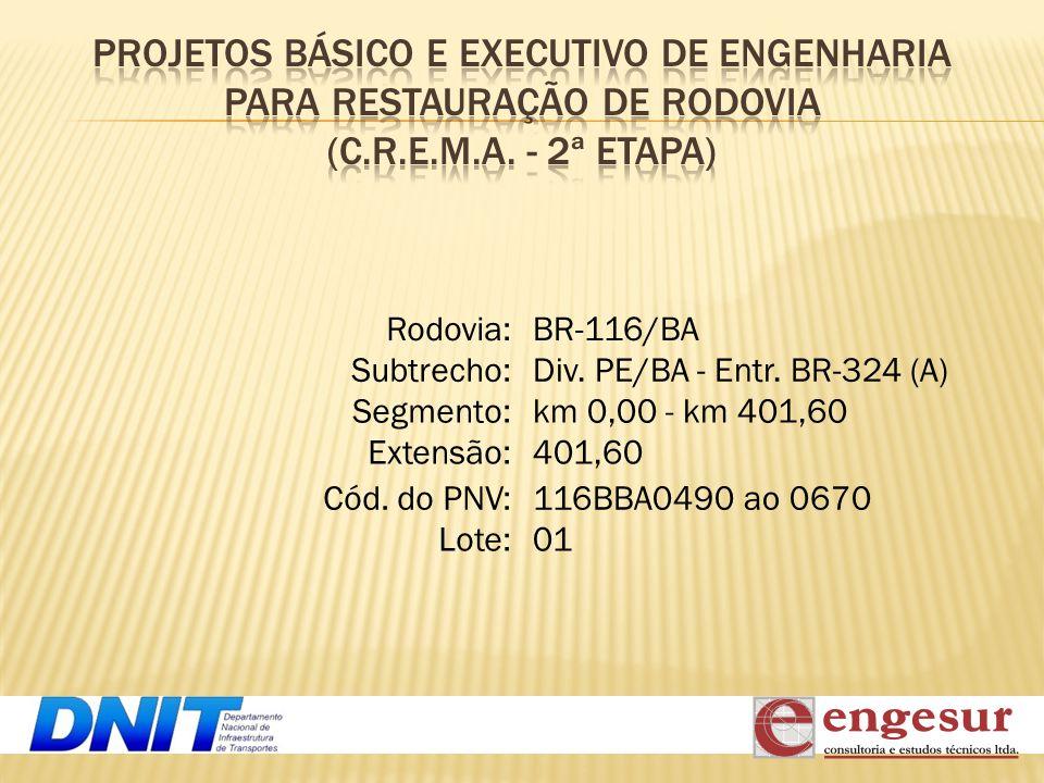 Rodovia: Subtrecho: Segmento: Extensão: Cód. do PNV: Lote: 401,60 km 0,00 - km 401,60 Div. PE/BA - Entr. BR-324 (A) BR-116/BA 116BBA0490 ao 0670 01