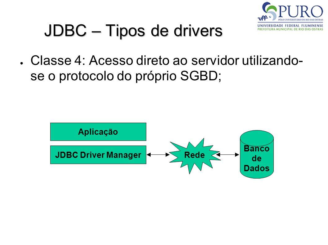 JDBC – Tipos de drivers ● Classe 4: Acesso direto ao servidor utilizando- se o protocolo do próprio SGBD; Aplicação JDBC Driver Manager Banco de Dados Rede