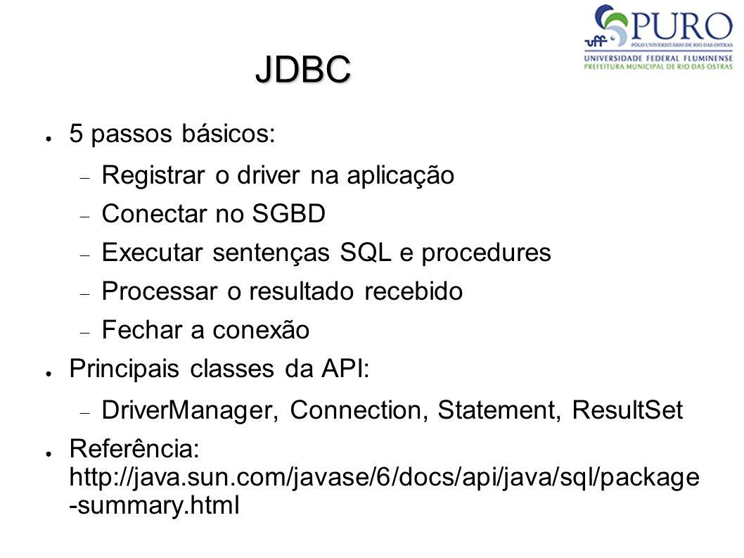 JDBC ● 5 passos básicos:  Registrar o driver na aplicação  Conectar no SGBD  Executar sentenças SQL e procedures  Processar o resultado recebido  Fechar a conexão ● Principais classes da API:  DriverManager, Connection, Statement, ResultSet ● Referência: http://java.sun.com/javase/6/docs/api/java/sql/package -summary.html