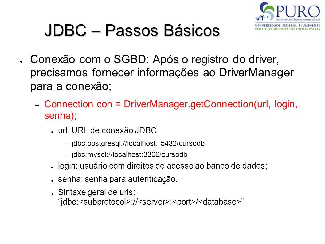 JDBC – Passos Básicos ● Conexão com o SGBD: Após o registro do driver, precisamos fornecer informações ao DriverManager para a conexão;  Connection con = DriverManager.getConnection(url, login, senha); ● url: URL de conexão JDBC  jdbc:postgresql://localhost: 5432/cursodb  jdbc:mysql://localhost:3306/cursodb ● login: usuário com direitos de acesso ao banco de dados; ● senha: senha para autenticação.