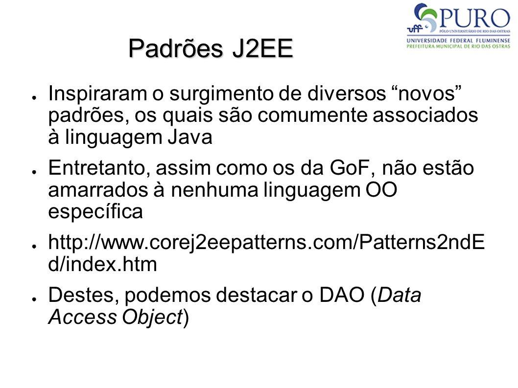 Padrões J2EE ● Inspiraram o surgimento de diversos novos padrões, os quais são comumente associados à linguagem Java ● Entretanto, assim como os da GoF, não estão amarrados à nenhuma linguagem OO específica ● http://www.corej2eepatterns.com/Patterns2ndE d/index.htm ● Destes, podemos destacar o DAO (Data Access Object)