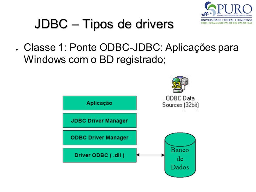 JDBC – Tipos de drivers – Classe 1 ● ODBC fornece uma interface uniforme para que aplicações em Windows acessem bancos de dados de fornecedores diferentes; ● O JDK é distribuído com um driver desse tipo; ● Uma aplicação que utilize este drive se comunica indiretamente com o banco de dados através da ponte JDBC-ODBC; ● Este uso requer código nativo de acesso ao banco na máquina cliente.