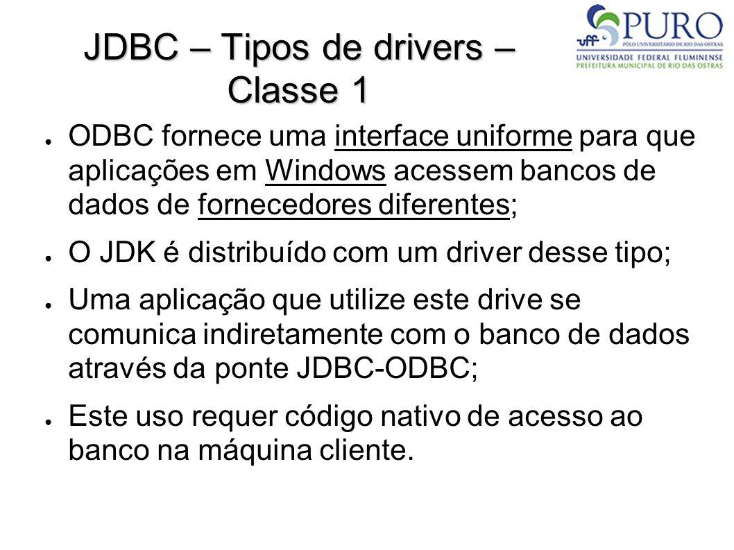 JDBC – Tipos de drivers ● Classe 2: Acesso nativo: Usa as bibliotecas client do SGBD; Aplicação JDBC Driver Manager API Nativa do Banco Banco de Dados
