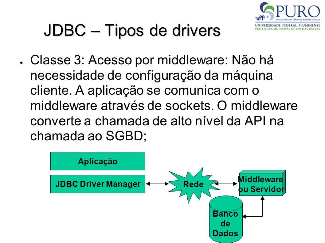 JDBC – Tipos de drivers – Classe 3 ● Chamadas ao banco de dados através da rede, utilizando HTTP; ● A interação real com o banco de dados estaria entre os servidores de middleware e banco de dados; ● A aplicação é 100% Java.