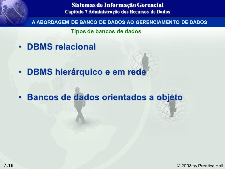 7.16 © 2003 by Prentice Hall Tipos de bancos de dados DBMS relacionalDBMS relacional DBMS hierárquico e em redeDBMS hierárquico e em rede Bancos de da