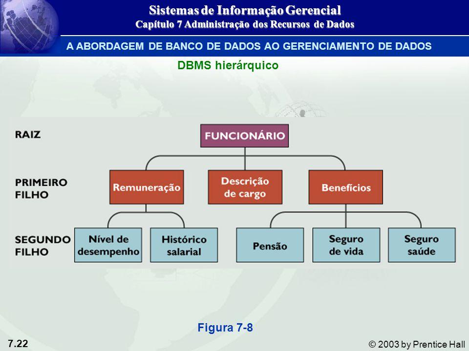 7.22 © 2003 by Prentice Hall DBMS hierárquico Figura 7-8 Sistemas de Informação Gerencial Capítulo 7 Administração dos Recursos de Dados A ABORDAGEM D