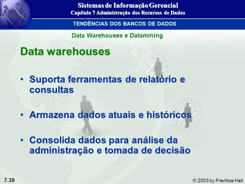 7.39 © 2003 by Prentice Hall Data warehouses Suporta ferramentas de relatório e consultasSuporta ferramentas de relatório e consultas Armazena dados a