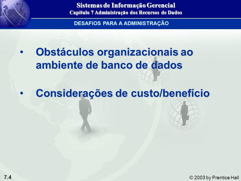 7.4 © 2003 by Prentice Hall Obstáculos organizacionais ao ambiente de banco de dadosObstáculos organizacionais ao ambiente de banco de dados Considera