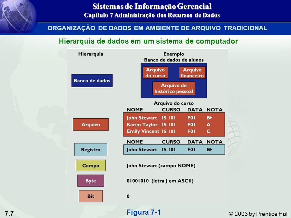 7.7 © 2003 by Prentice Hall Hierarquia de dados em um sistema de computador Figura 7-1 Sistemas de Informação Gerencial Capítulo 7 Administração dos R