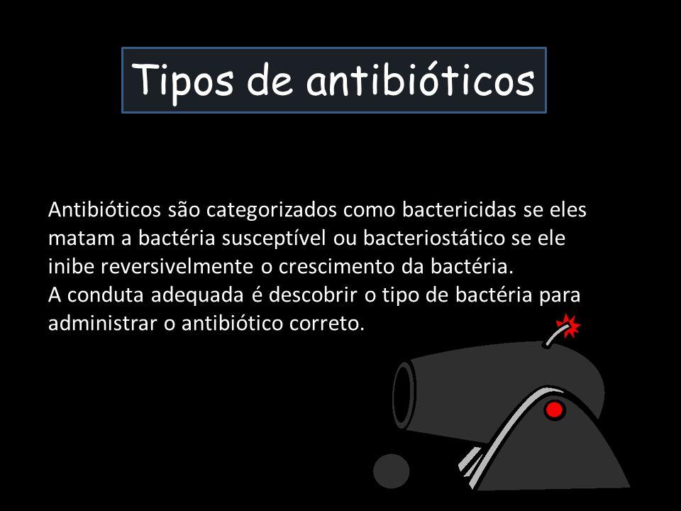 Tipos de antibióticos Antibióticos são categorizados como bactericidas se eles matam a bactéria susceptível ou bacteriostático se ele inibe reversivel