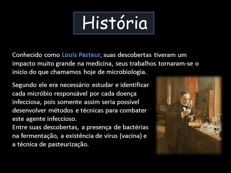 História Conhecido como Louis Pasteur, suas descobertas tiveram um impacto muito grande na medicina, seus trabalhos tornaram-se o início do que chamam
