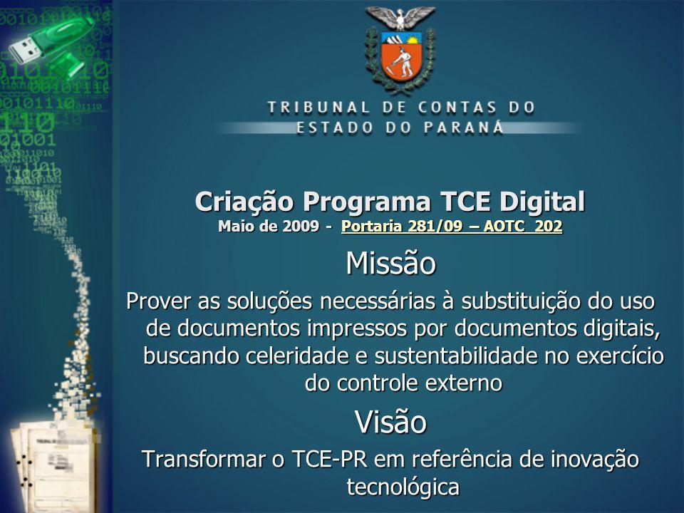 Criação Programa TCE Digital Maio de 2009 - Portaria 281/09 – AOTC 202 Portaria 281/09 – AOTC 202Portaria 281/09 – AOTC 202Missão Prover as soluções n