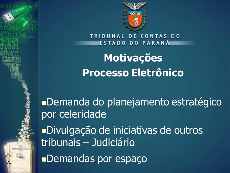 Motivações Processo Eletrônico Demanda do planejamento estratégico por celeridade Divulgação de iniciativas de outros tribunais – Judiciário Demandas por espaço