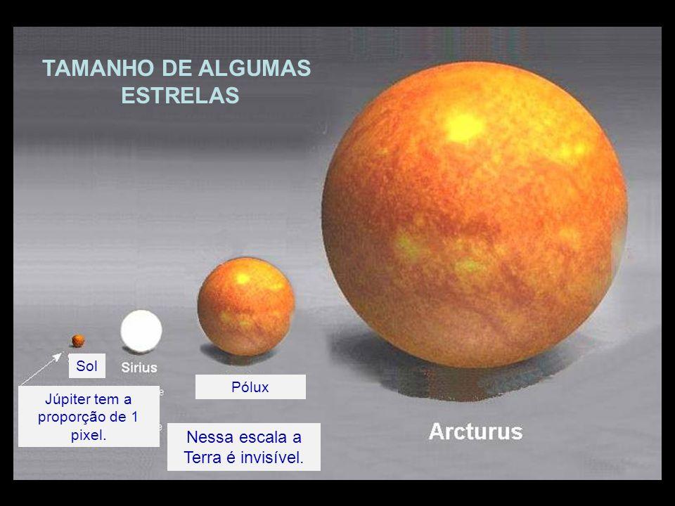 Sol Júpiter tem a proporção de 1 pixel. Nessa escala a Terra é invisível. Pólux TAMANHO DE ALGUMAS ESTRELAS