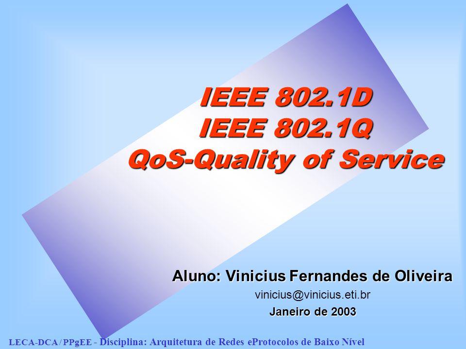 IEEE 802.1D IEEE 802.1Q QoS-Quality of Service Aluno: Vinicius Fernandes de Oliveira vinicius@vinicius.eti.br Janeiro de 2003 LECA-DCA / PPgEE - Disciplina: Arquitetura de Redes eProtocolos de Baixo Nível
