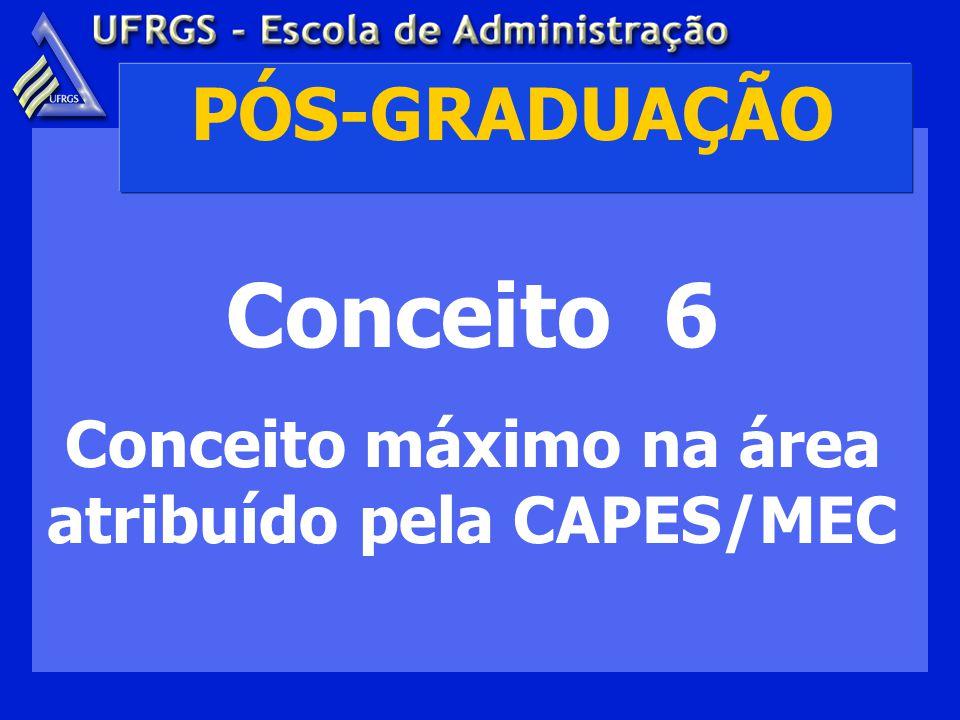 PÓS-GRADUAÇÃO Conceito 6 Conceito máximo na área atribuído pela CAPES/MEC