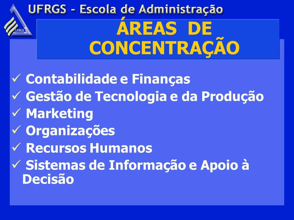 ÁREAS DE CONCENTRAÇÃO Contabilidade e Finanças Gestão de Tecnologia e da Produção Marketing Organizações Recursos Humanos Sistemas de Informação e Apoio à Decisão