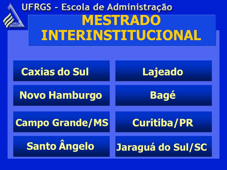 MESTRADO INTERINSTITUCIONAL Caxias do Sul Santo Ângelo Lajeado Bagé Curitiba/PR Jaraguá do Sul/SC Campo Grande/MS Novo Hamburgo