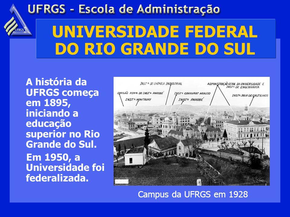 UNIVERSIDADE FEDERAL DO RIO GRANDE DO SUL A história da UFRGS começa em 1895, iniciando a educação superior no Rio Grande do Sul.