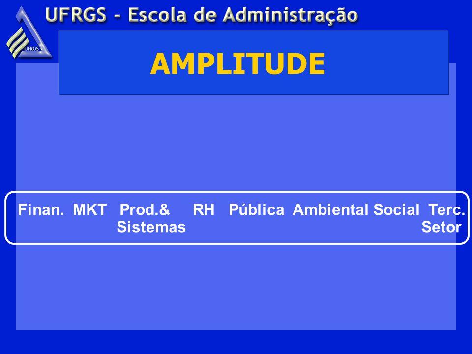 AMPLITUDE Finan. MKT Prod.& RH Pública Ambiental Social Terc. Sistemas Setor