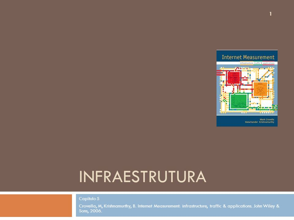 INFRAESTRUTURA Capítulo 5 Crovella, M, Krishnamurthy, B. Internet Measurement: infrastructure, traffic & applications. John Wiley & Sons, 2006. 1