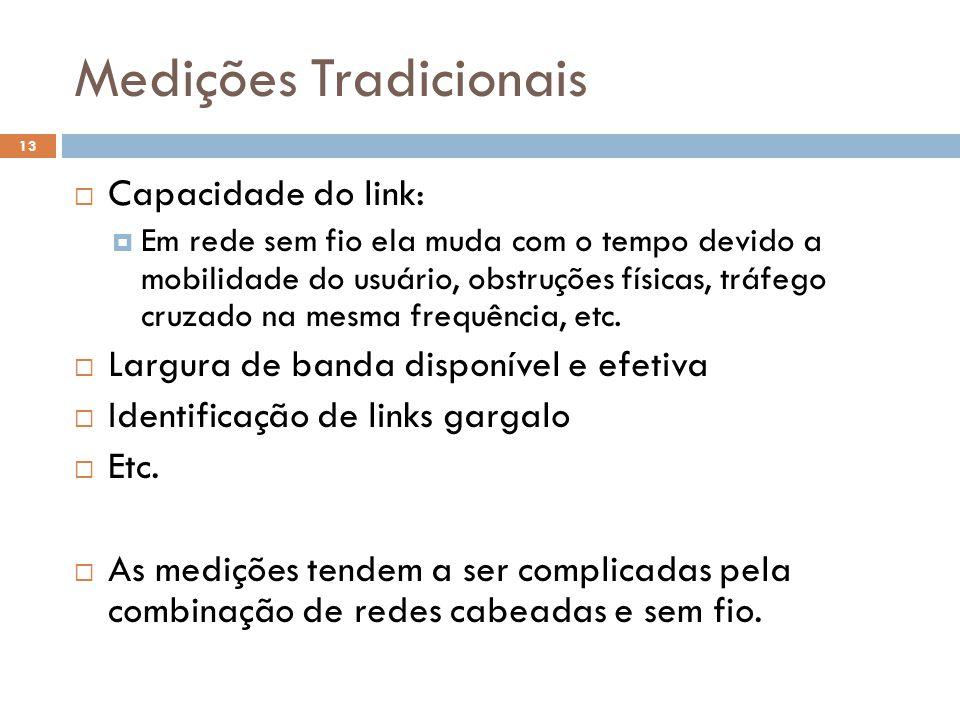 Medições Tradicionais 13  Capacidade do link:  Em rede sem fio ela muda com o tempo devido a mobilidade do usuário, obstruções físicas, tráfego cruzado na mesma frequência, etc.