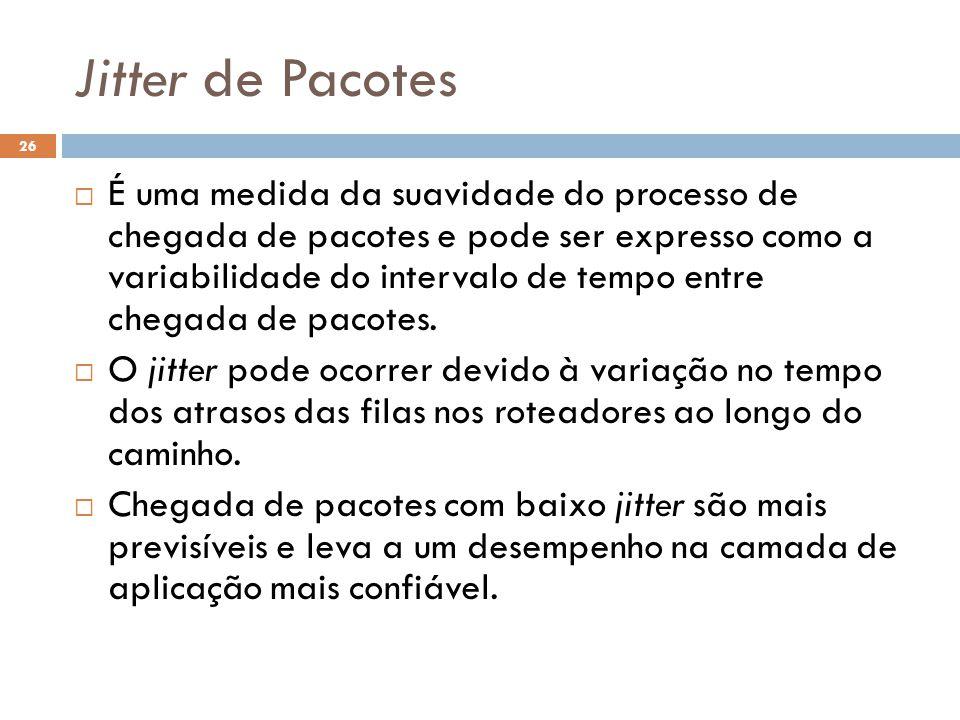Jitter de Pacotes 26  É uma medida da suavidade do processo de chegada de pacotes e pode ser expresso como a variabilidade do intervalo de tempo entre chegada de pacotes.