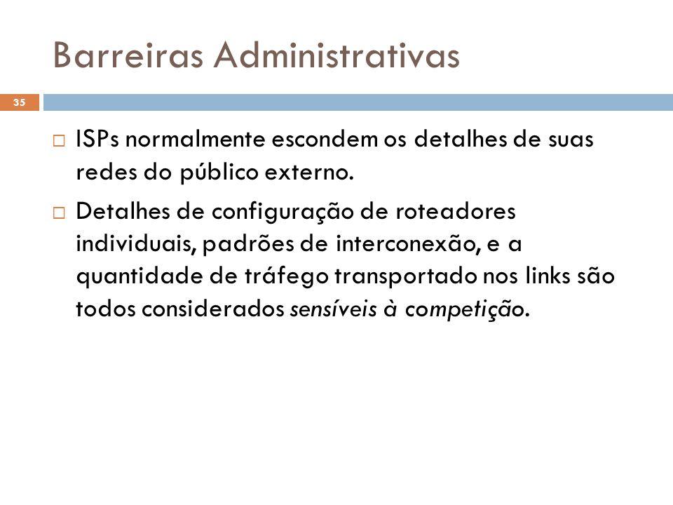 Barreiras Administrativas 35  ISPs normalmente escondem os detalhes de suas redes do público externo.