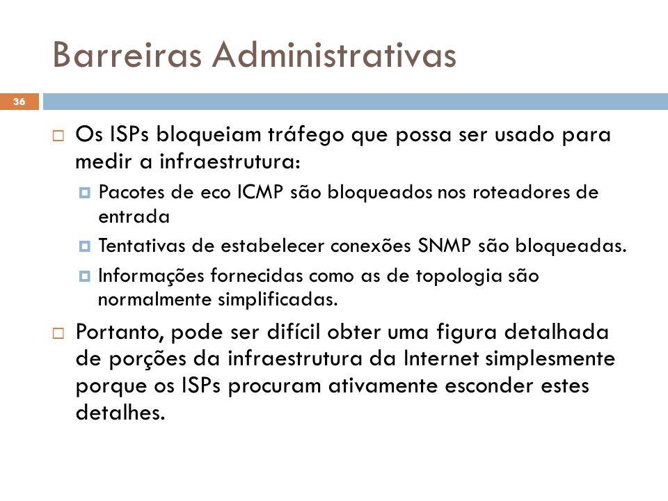Barreiras Administrativas 36  Os ISPs bloqueiam tráfego que possa ser usado para medir a infraestrutura:  Pacotes de eco ICMP são bloqueados nos roteadores de entrada  Tentativas de estabelecer conexões SNMP são bloqueadas.