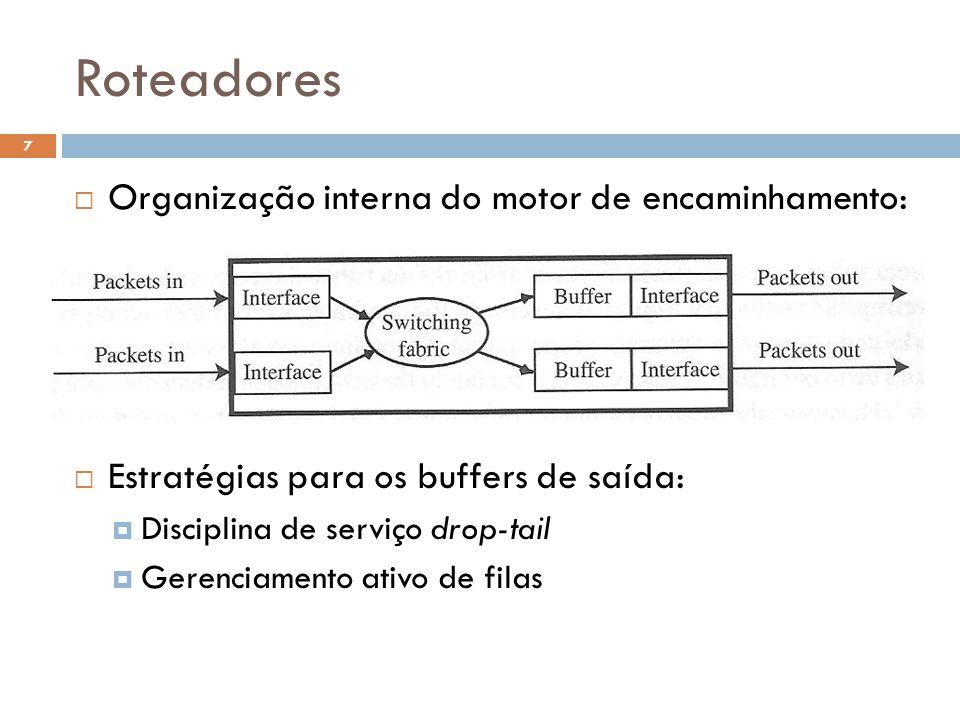 Roteadores 7  Organização interna do motor de encaminhamento:  Estratégias para os buffers de saída:  Disciplina de serviço drop-tail  Gerenciamento ativo de filas