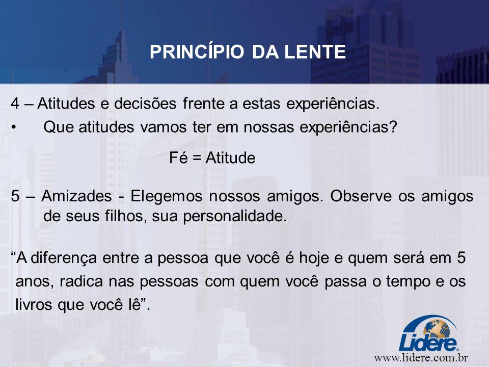 www.lidere.com.br PRINCÍPIO DA LENTE 4 – Atitudes e decisões frente a estas experiências.