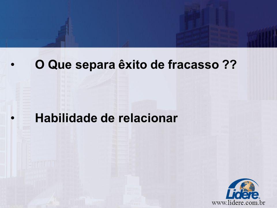 www.lidere.com.br O Que separa êxito de fracasso Habilidade de relacionar
