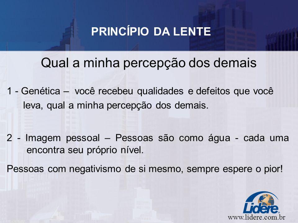 www.lidere.com.br PRINCÍPIO DA LENTE Qual a minha percepção dos demais 1 - Genética – você recebeu qualidades e defeitos que você leva, qual a minha percepção dos demais.