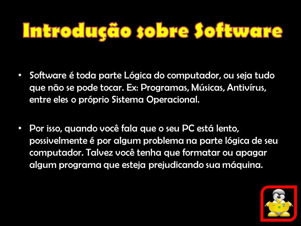 Software é toda parte Lógica do computador, ou seja tudo que não se pode tocar. Ex: Programas, Músicas, Antivírus, entre eles o próprio Sistema Operac