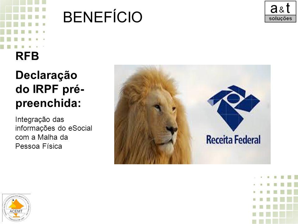 RFB Declaração do IRPF pré- preenchida: Integração das informações do eSocial com a Malha da Pessoa Física BENEFÍCIO