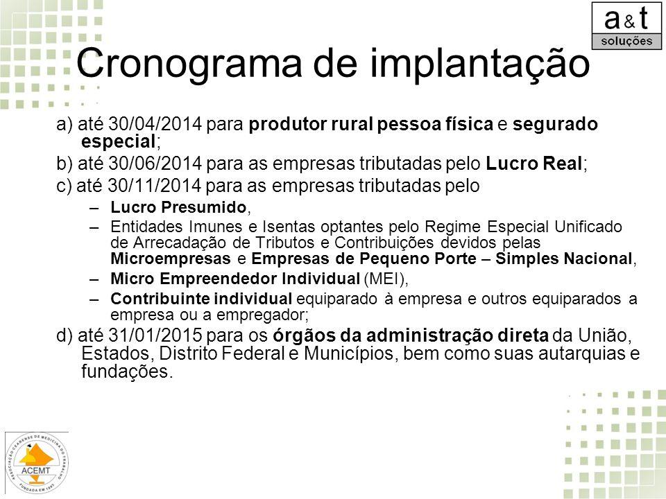Cronograma de implantação a) até 30/04/2014 para produtor rural pessoa física e segurado especial; b) até 30/06/2014 para as empresas tributadas pelo