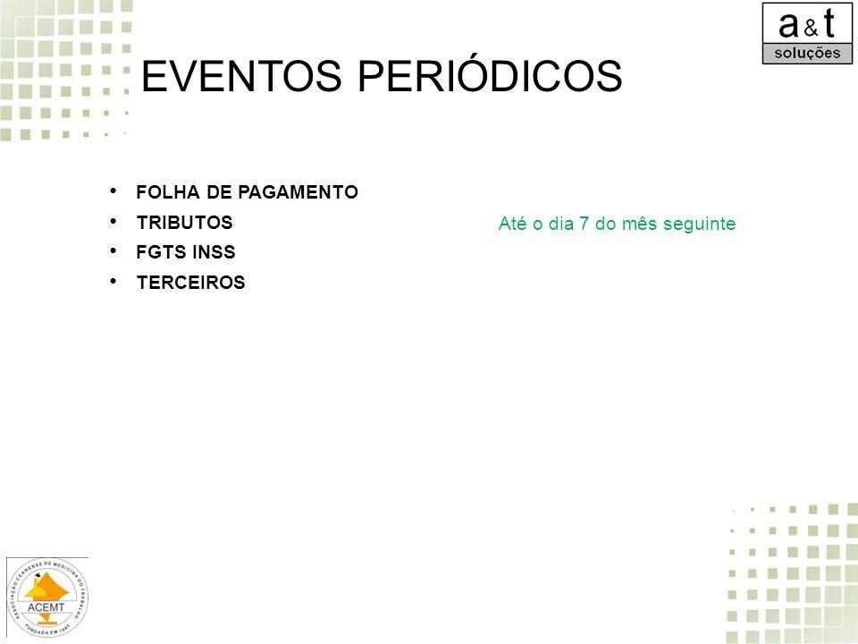 FOLHA DE PAGAMENTO TRIBUTOS FGTS INSS TERCEIROS EVENTOS PERIÓDICOS Até o dia 7 do mês seguinte