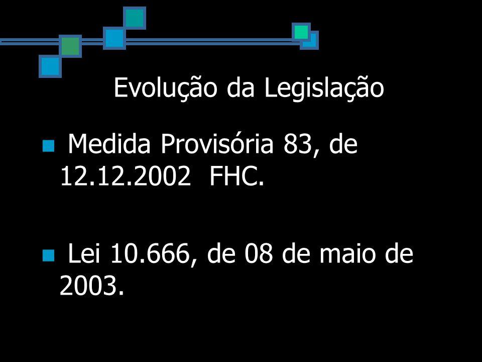 Evolução da Legislação Medida Provisória 83, de 12.12.2002 FHC. Lei 10.666, de 08 de maio de 2003.