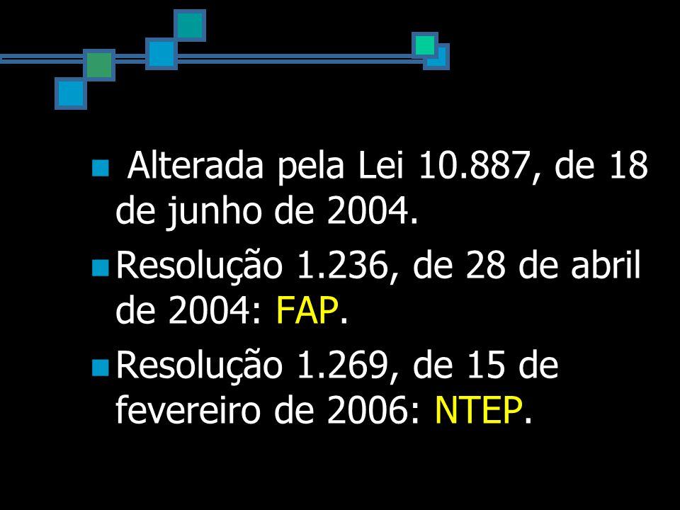 Alterada pela Lei 10.887, de 18 de junho de 2004. Resolução 1.236, de 28 de abril de 2004: FAP.