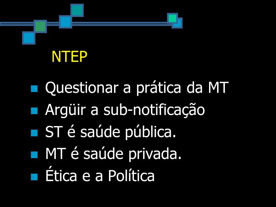 NTEP Questionar a prática da MT Argüir a sub-notificação ST é saúde pública.