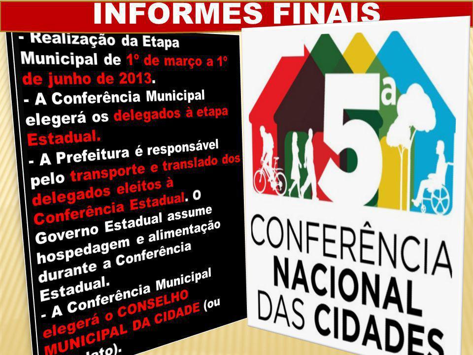 CONFERÊNCIA MUNICIPAL DA CIDADE A Festa da Cidadania  As Conferências Municipais são os espaços privilegiados para a população debater O QUE É MELHOR