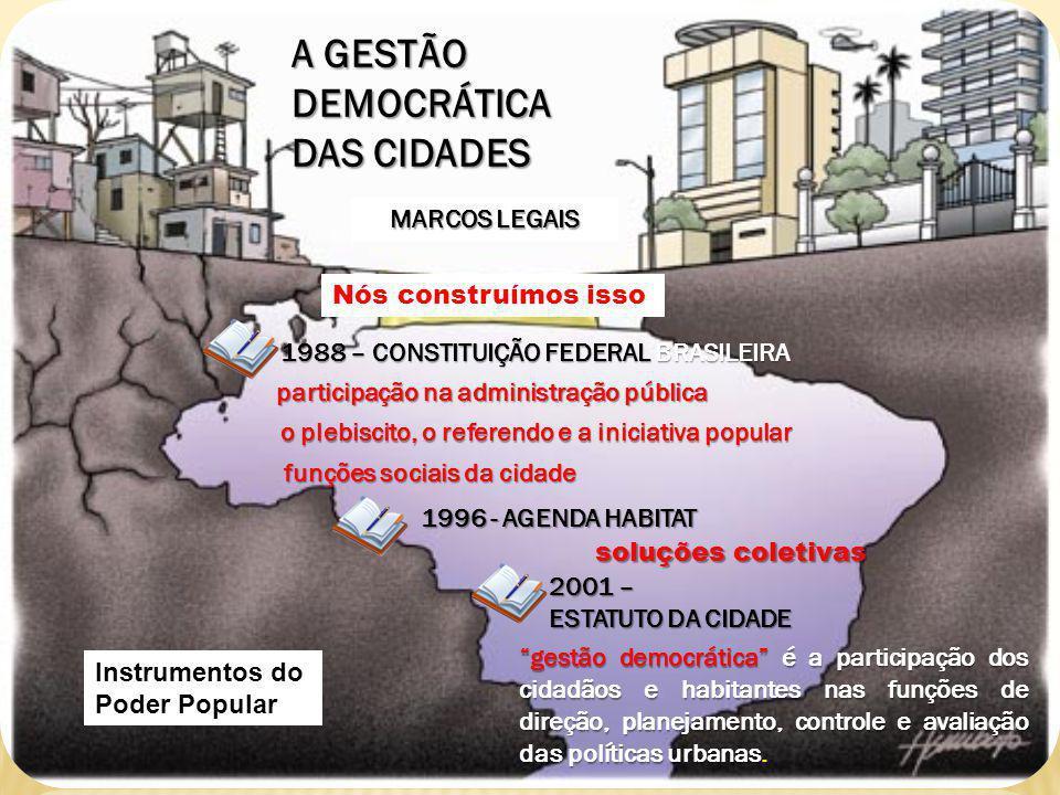 A GESTÃO DEMOCRÁTICA DAS CIDADES MARCOS LEGAIS 1988 – CONSTITUIÇÃO FEDERAL BRASILEIRA 1996 - AGENDA HABITAT 2001 – ESTATUTO DA CIDADE Nós construímos isso Instrumentos do Poder Popular participação na administração pública o plebiscito, o referendo e a iniciativa popular funções sociais da cidade soluções coletivas gestão democrática é a participação dos cidadãos e habitantes nas funções de direção, planejamento, controle e avaliação das políticas urbanas.