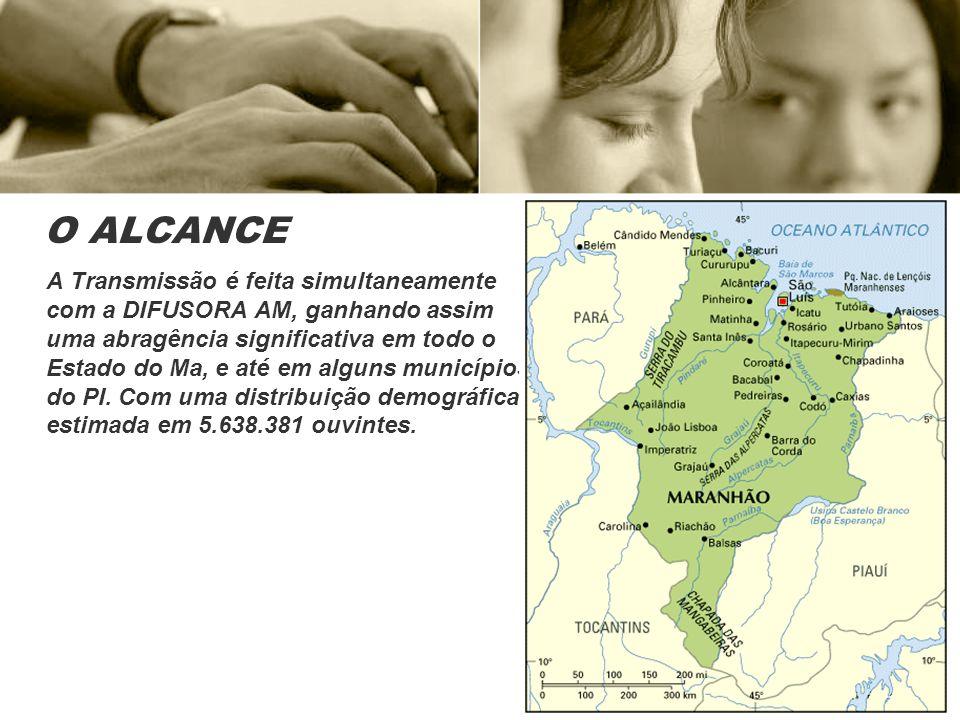 O ALCANCE A Transmissão é feita simultaneamente com a DIFUSORA AM, ganhando assim uma abragência significativa em todo o Estado do Ma, e até em alguns municípios do PI.