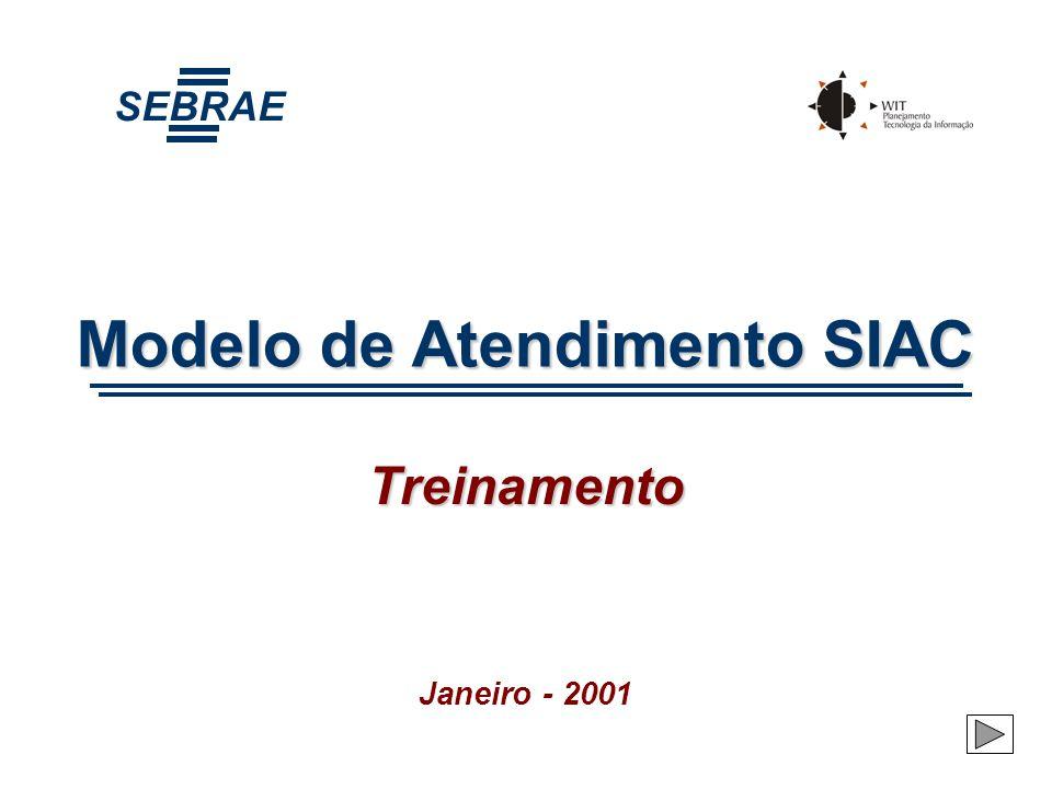 Objetivo do Treinamento Capacitar as pessoas do SEBRAE envolvidas com o atendimento na operacionalização do novo Modelo de Atendimento (procedimentos, rotinas e utilização do sistema SIACNet)