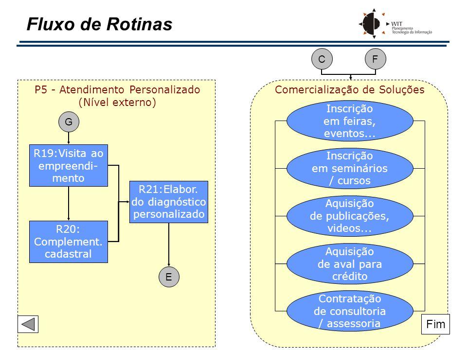 Fluxo de Rotinas R19:Visita ao empreendi- mento R21:Elabor. do diagnóstico personalizado R20: Complement. cadastral P5 - Atendimento Personalizado (Ní