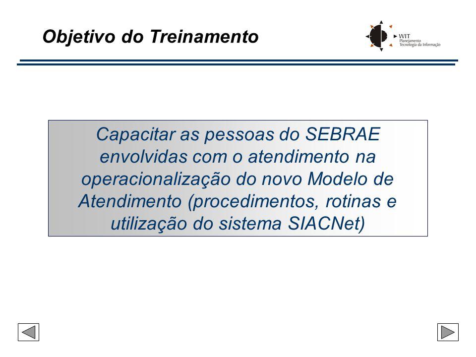 Objetivo do Treinamento Capacitar as pessoas do SEBRAE envolvidas com o atendimento na operacionalização do novo Modelo de Atendimento (procedimentos,