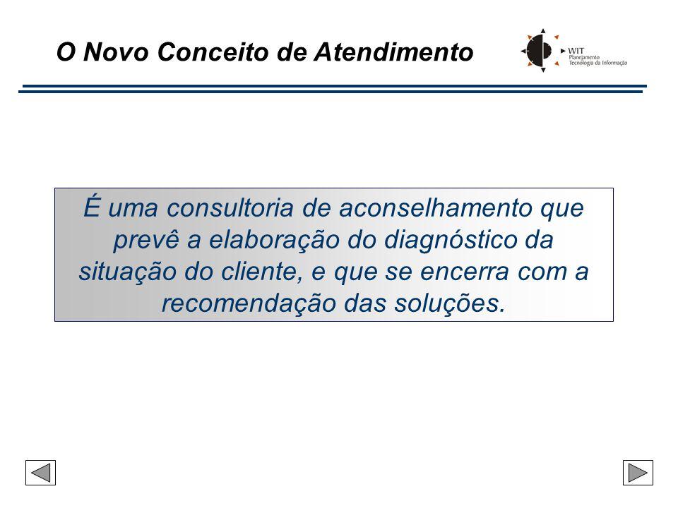O Novo Conceito de Atendimento É uma consultoria de aconselhamento que prevê a elaboração do diagnóstico da situação do cliente, e que se encerra com