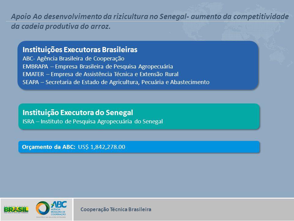 Cooperação Técnica Brasileira Apoio Ao desenvolvimento da rizicultura no Senegal- aumento da competitividade da cadeia produtiva do arroz. Instituiçõe